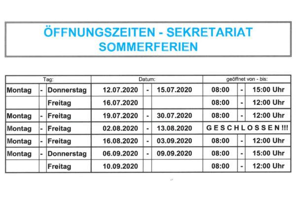 Sekretariat Öffnungszeiten